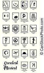 jogo, de, apartamento, desenho, estilo, ícones, dedicado, para, famosos, films.