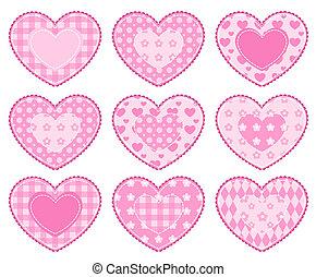 jogo, de, applique, hearts.