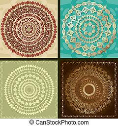 jogo, de, arabesco, desenho, padrão