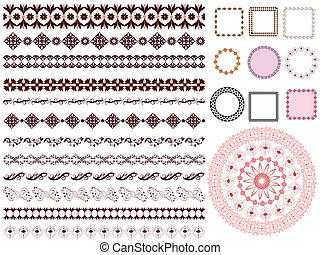 jogo, de, arabesco, padrão, quadro, borda