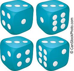 jogo, de, azul, cassino, craps, dices, com, três, pontos, pontos, número, cima, vetorial, ilustração