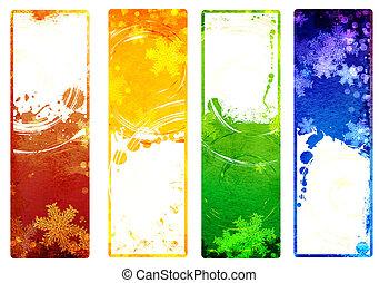 jogo, de, bandeiras, com, grunge, natal, fundos, com, snowflakes