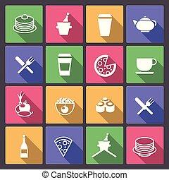 jogo, de, bebida, e, ícones alimento, em, apartamento