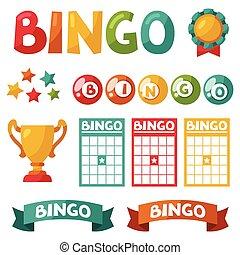 jogo, de, bingo, ou, loteria, jogo, bolas, e, cartões