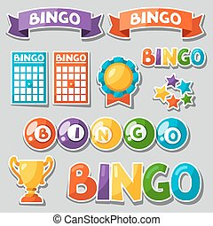jogo, de, bingo, ou, loteria, jogo, com, bolas, e, cartões