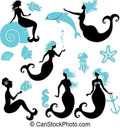 jogo, de, bonito, sereia, menina, silhuetas, em, preto, azul, cores, isolado, branco, experiência., elementos, para, fairytale, design., com, seashell, seahorse, peixe, dolphin.