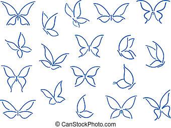 jogo, de, borboleta, silhuetas