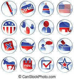 jogo, de, branca, eleição, ícones