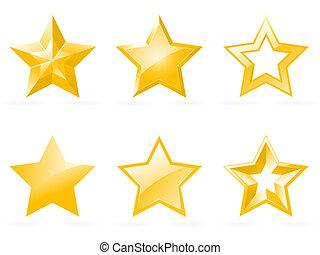 jogo, de, brilhante, estrela, ícones