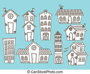 jogo, de, caricatura, casa, e, predios