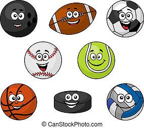 jogo, de, caricatura, equipamento esportes