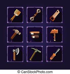 jogo, de, caricatura, mão, tools., vetorial