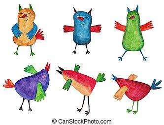 jogo, de, caricatura, pássaros