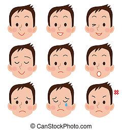 jogo, de, caricatura, rosto, emoções