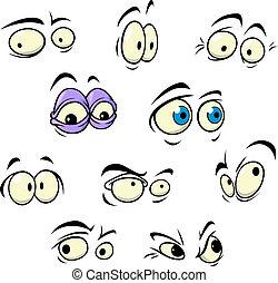 jogo, de, caricatura, vetorial, olhos