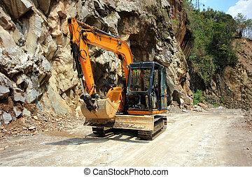 jogo, de, carregadores, escavadores, maquinaria construção, equipamento