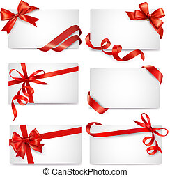 jogo, de, cartão, notas, com, vermelho, presente, arcos,...