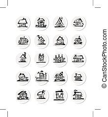 jogo, de, casas, esboço, para, seu, desenho