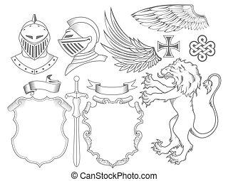 jogo, de, cavaleiro, heraldic, elementos