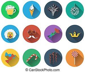 jogo, de, celebração, ícones