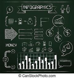 jogo, de, chalkboard, infographics, e, negócio, icons.