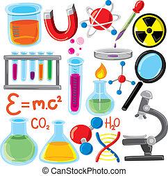 jogo, de, ciência, material