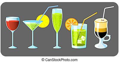 jogo, de, cinco, diferente, óculos, com, bebidas