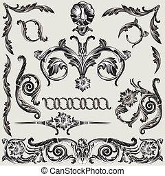 jogo, de, clássicas, decoração floral, elementos