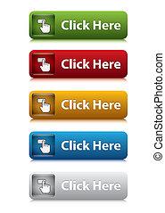 jogo, de, clique, botão, para, site web, 5, cor
