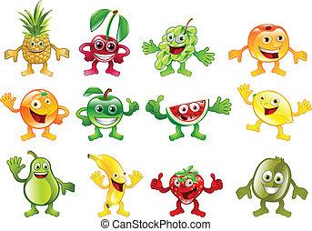 jogo, de, colorido, fruta, personagem, mascotes