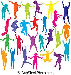 jogo, de, colorido, pessoas, e, crianças, silhuetas, pular