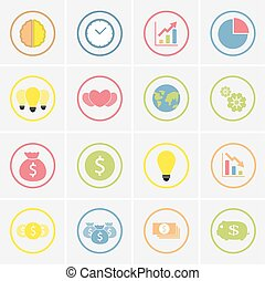 jogo, de, coloridos, ícones negócio, em, círculo