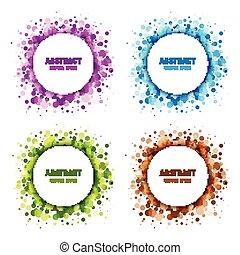 jogo, de, coloridos, abstratos, circles., quadro, projete elementos