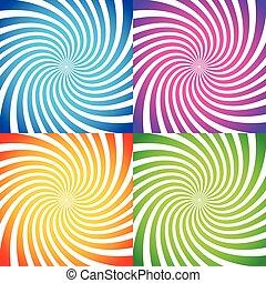 jogo, de, coloridos, abstratos, fundos, em, vívido, colors., vector.