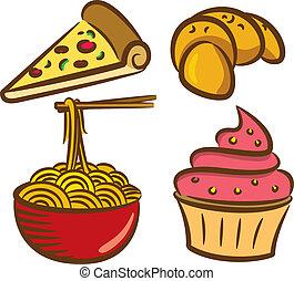 jogo, de, coloridos, alimento, ícone, em, doodle