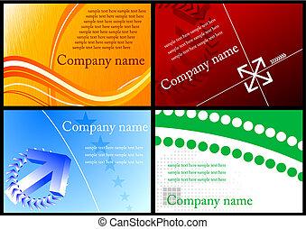 jogo, de, coloridos, cartões negócio
