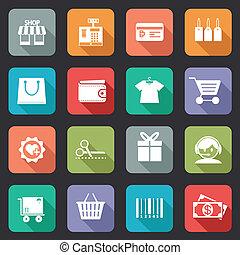 jogo, de, coloridos, compra, ícones, em, apartamento, estilo