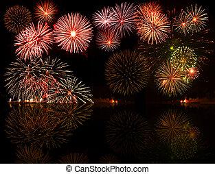 jogo, de, coloridos, fireworks., bom, para, seu, objeto, ou,...