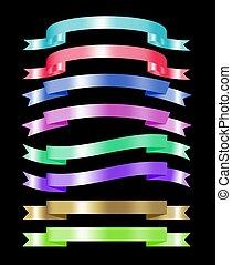 jogo, de, coloridos, fita, cobrança, 3d, efeito, com, lugar, para, texto, vetorial, ilustração, isolado, ligado, pretas