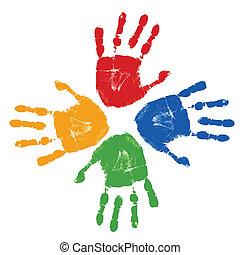 jogo, de, coloridos, mão imprime