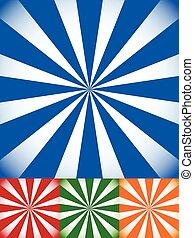 jogo, de, coloridos, sunburst, starburst, fundos, com, radiando, raios, luzes, jogo, de, coloridos, sunburst, starburst, fundos, com, radiando, raios, luzes