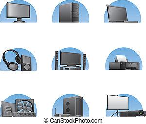 jogo, de, computadores, e, eletrônica, dispositivos, ícones