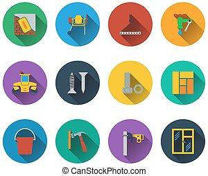 jogo, de, construção, ícones