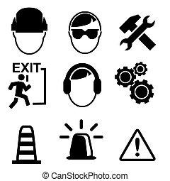 jogo, de, construção, ícones, isolado, branco, fundo, vetorial