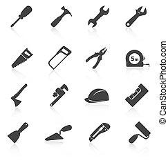 jogo, de, construção, ferramentas, ícones