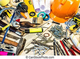 jogo, de, construção, ferramentas
