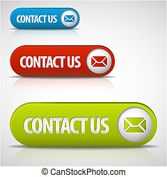 jogo, de, contactar-nos, botões