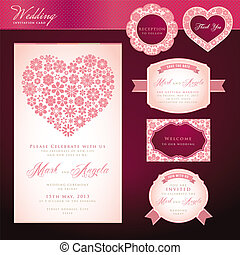 jogo, de, convite casamento, cartões