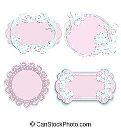 jogo, de, cor-de-rosa, bordas, para, meninas