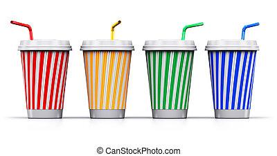 jogo, de, cor, plástico, ou, papel, bebida, copos, com, palhas